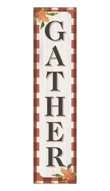 Gather - Autumn Theme - Outdoor Standing Lawn Sign 6x24