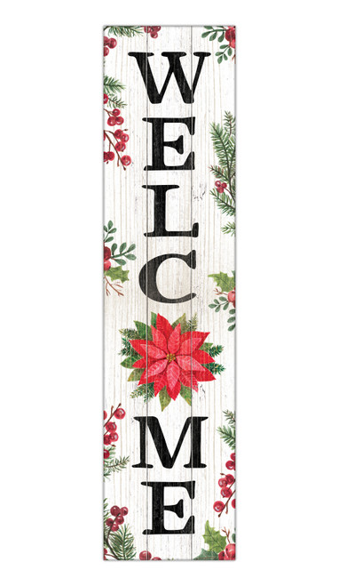 Welcome with Poinsettia - Outdoor Standing Lawn Sign 6x24