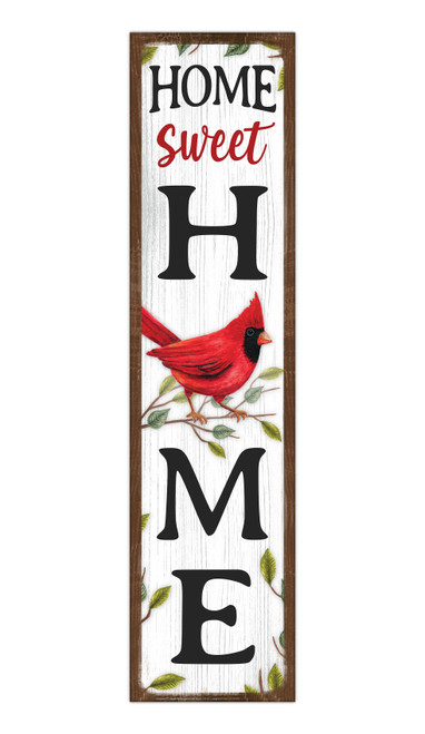 Home Sweet Home With Cardinal - Outdoor Standing Lawn Sign 6x24