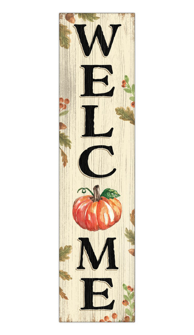 Welcome With Pumpkin - Outdoor Standing Lawn Sign 6x24