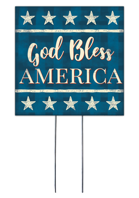 God Bless America - Square Outdoor Standing Lawn Sign 8x8