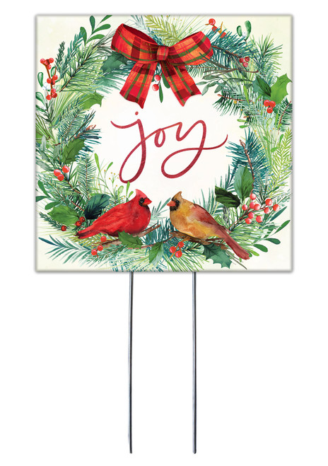 Joy With Cardinal Wreath - Square Outdoor Standing Lawn Sign 8x8