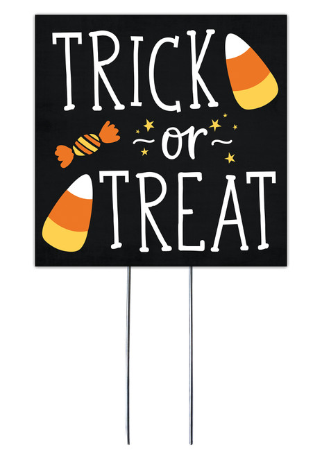 Trick Or Treat With Candy Corn - Square Outdoor Standing Lawn Sign 8x8