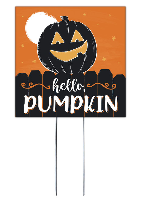Hello Pumpkin - Square Outdoor Standing Lawn Sign 8x8