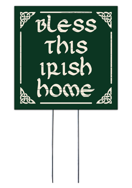 Bless This Irish Home - Square Outdoor Standing Lawn Sign 8x8