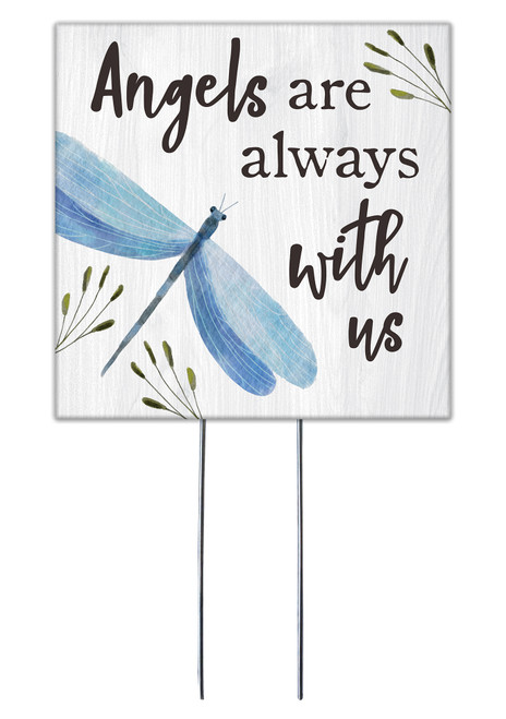 Angels Are Always With Us With Dragonfly - Square Outdoor Standing Lawn Sign 8x8