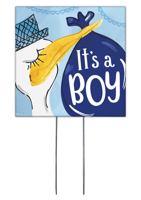 It's A Boy With Stork - Square Outdoor Standing Lawn Sign 8x8