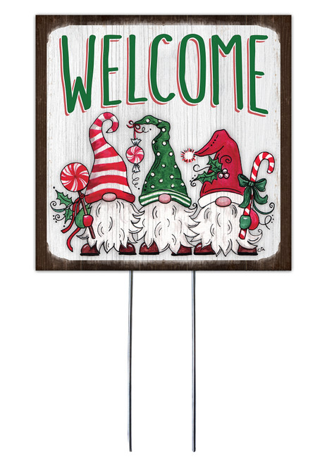 Welcome With Christmas Gnome - Square Outdoor Standing Lawn Sign 8x8