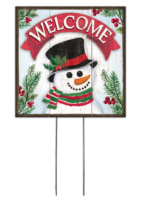 Welcome Banner With Snowman - Square Outdoor Standing Lawn Sign 8x8