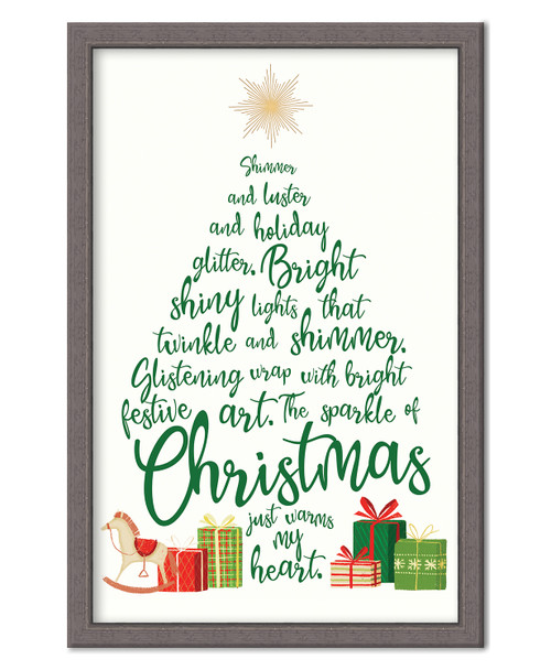 Shimmer And Luster And Holiday Glitter. Bright Shiny Lights That Twinkle And Shimmer. Glistening Wrap With Bright Festive Art. The Sparkle Of Christmas Just Warms My Heart. - In Christmas tree shape with presents
