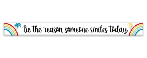 Be The Reason Someone Smiles Today with Rainbows and Gnomes - Skinny Wood Sign 16in.