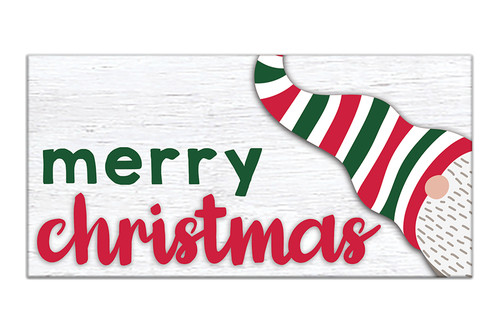 Merry Christmas with Gnome - 3X6 Wooden Block Sign