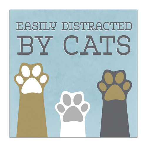 Easily Distracted By Cats - 5X5 Wooden Block Sign