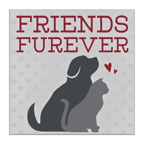 Friends Furever with Cat and Dog - 6X6 Wooden Block Sign