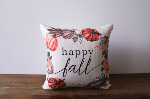 Happy Fall with Pumpkin Wreath Square Pillow