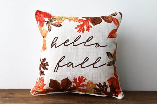 Hello, Fall with Autumn Leaf Pattern Square Pillow