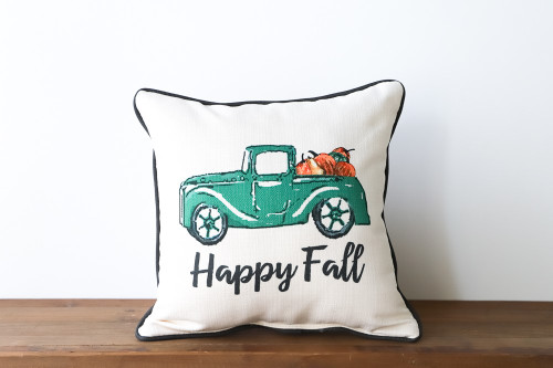 Happy Fall with Pumpkin Truck Square Pillow