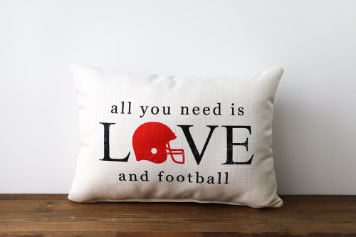 All You Need Is Love and Football Rectangle Pillow