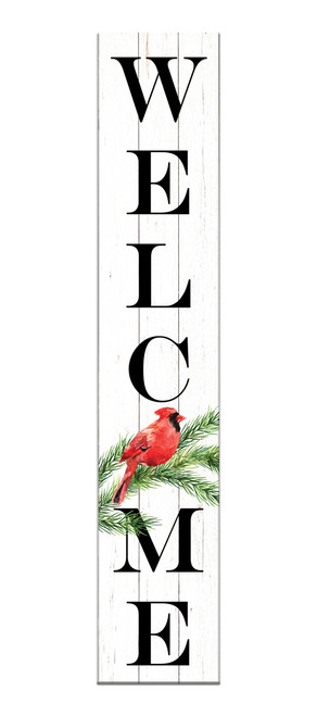 Outdoor Sign - Welcome with Cardinal - Vertical Porch Sign 8x43