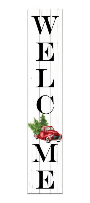 Outdoor Sign - Welcome with Vintage Christmas Truck - Vertical Porch Sign 8x43