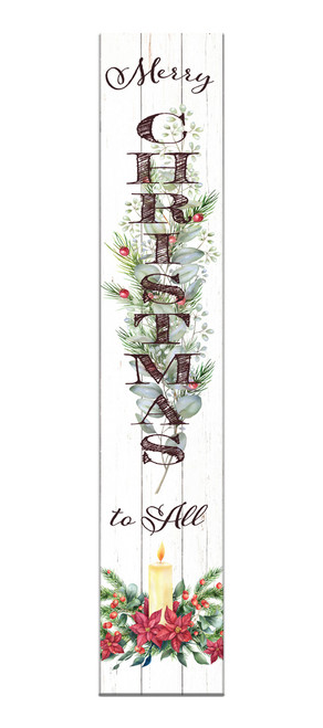 Outdoor Sign - Merry Christmas To All - Vertical Porch Sign 8x43
