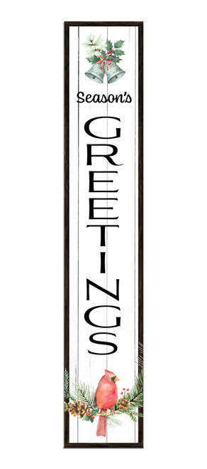 Outdoor Sign - Season's Greetings - Vertical Porch Sign 8x43