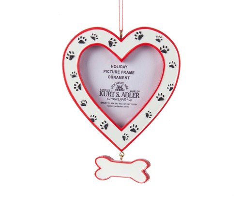 Heart Photo Frame With Dog Paws Ornament 4.25in.