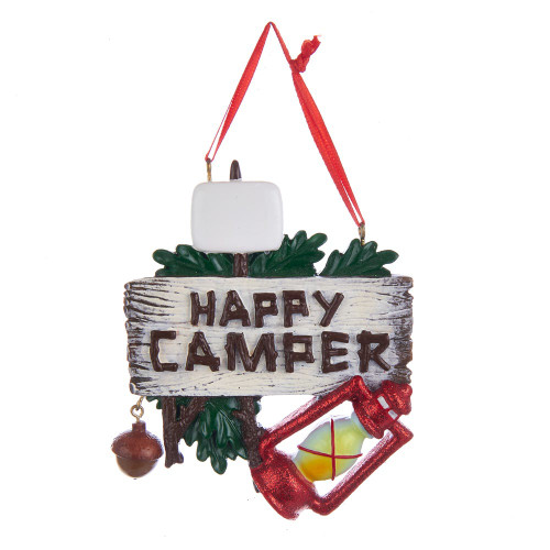 Happy Camper Woodsy Ornament 4in.