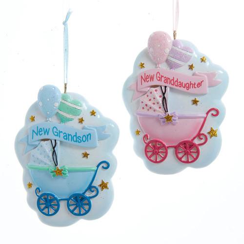 New Grandson or Granddaughter Baby Stroller Ornament 3.5in.