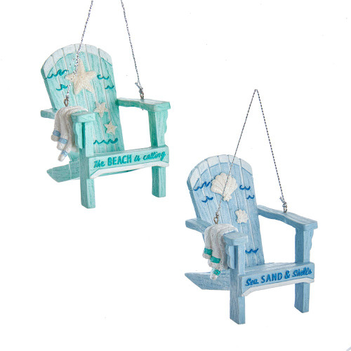 Beach Chair With Towel Ornament 3.5in.