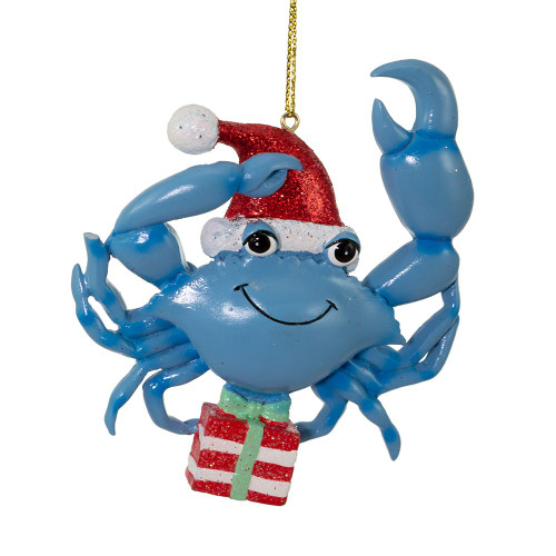 Whimsical Blue Crab With Santa Hat and Present Ornament 4in.