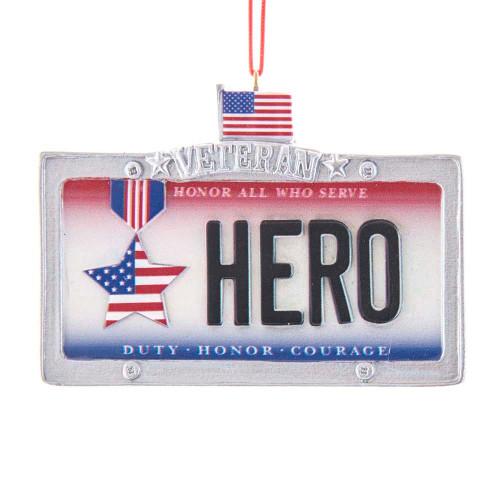 Veteran Hero License Plate Ornament 3in.