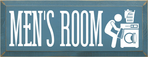 7x18 Williamsburg Blue board with White text  Men's Room