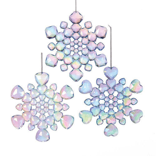 Shimmering Blue Snowflake Ornaments  Set of 3