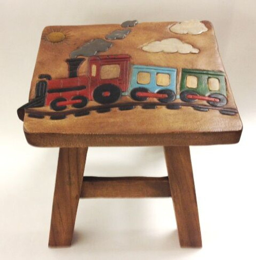 Train Step Stool Hand Carved Solid Acacia Sturdy Wood Stool For Children or Adults 10x10.5x10