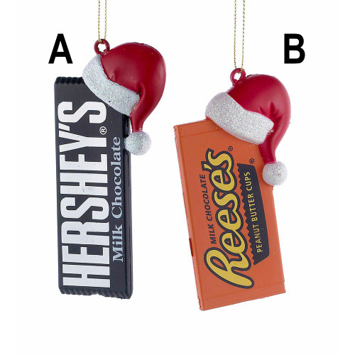 Hershey's Bar or Reese's Peanut Butter Cups With Santa Hat Ornament