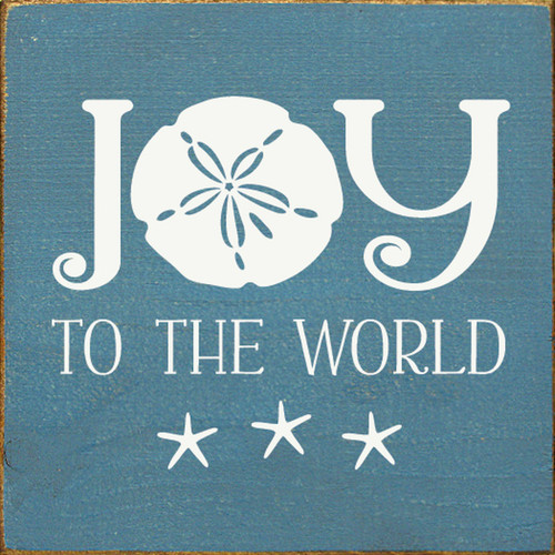 Joy to the World with Sand Dollar and Starfish Wooden Sign