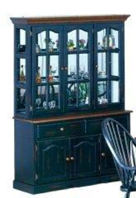 Mirrored Back Traditional Hutch 55 inchBlack and Cherry Danielson