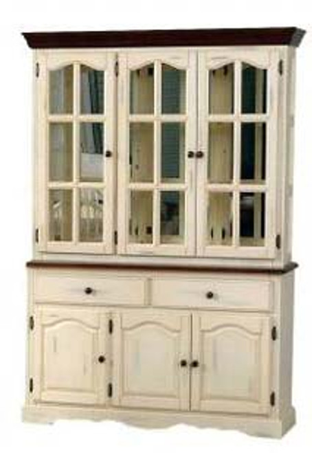 Mirrored Traditional Hutch Buttermilk and Cherry 54inch Danielson