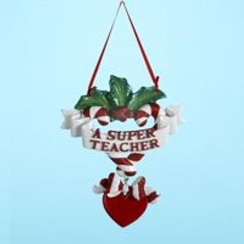A Super Teacher Banner Personalized Ornament