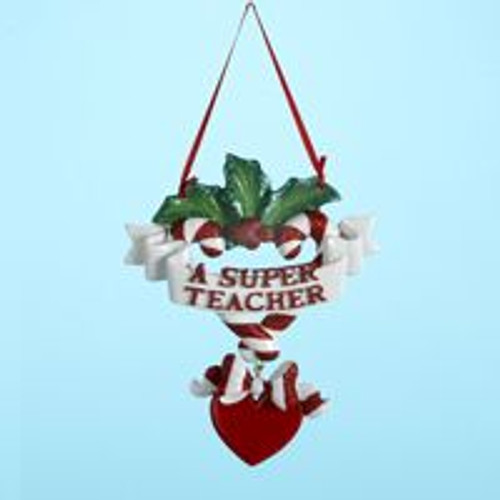 A Super Teacher Banner Personalized Ornament