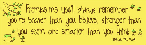 Promise me you'll always remember, you're braver than you believe, stronger than you seem and smarter than you think - Winnie The Pooh