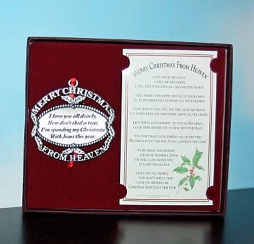 Christmas from Heaven Pewter Ornament Gift-boxed with Card With The Entire Poem.