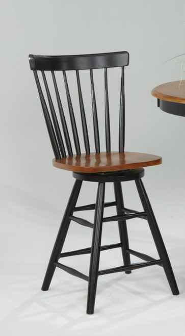 Solid Wood Curved Back Swivel 24in. Barstool Black & Cherry