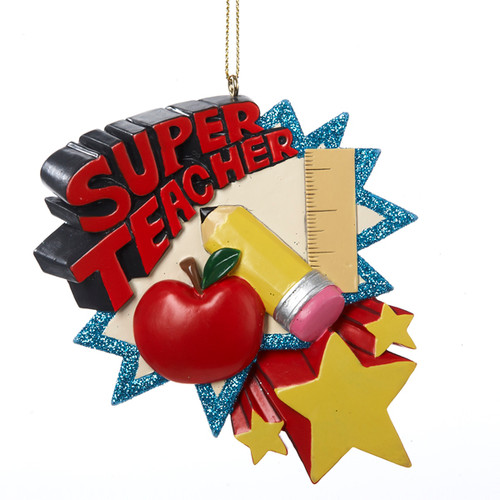 Super Teacher Personalized Ornament 3.75 Inch