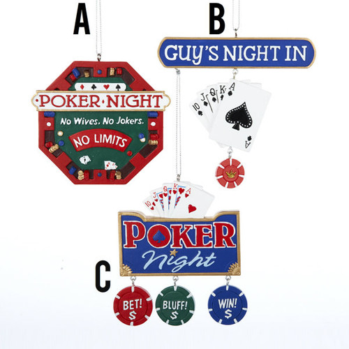 Poker Ornament 3 Assorted - Poker Night No Wives. No Jokers. No Limits. - Guys Night In -