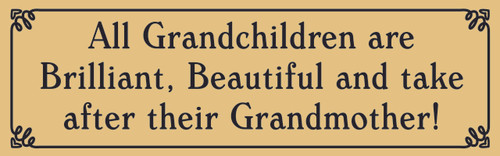 All Grandchildren are Brilliant, beautiful and take after their Grandmother Sign