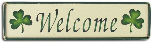 Wood Sign - Welcome With Shamrocks