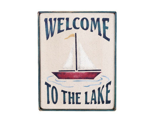 Welcome To The Lake with Sailboat - Wooden Sign