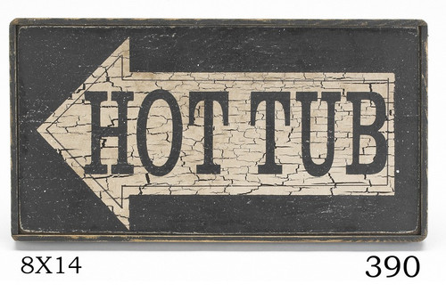 Hot tub sign with arrow